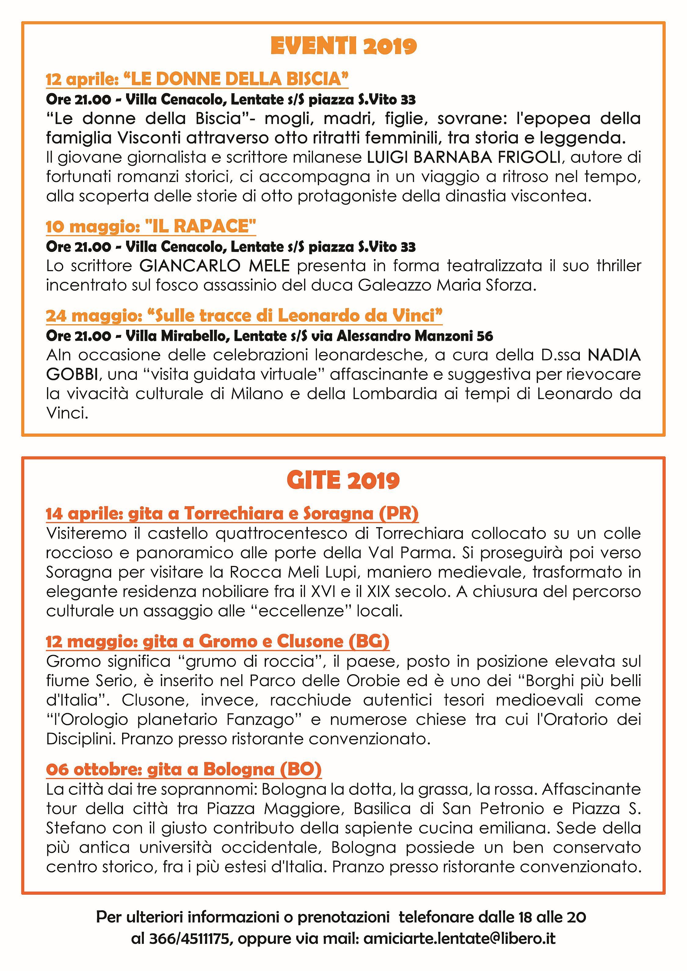 CONFERENZE E GITE 2019